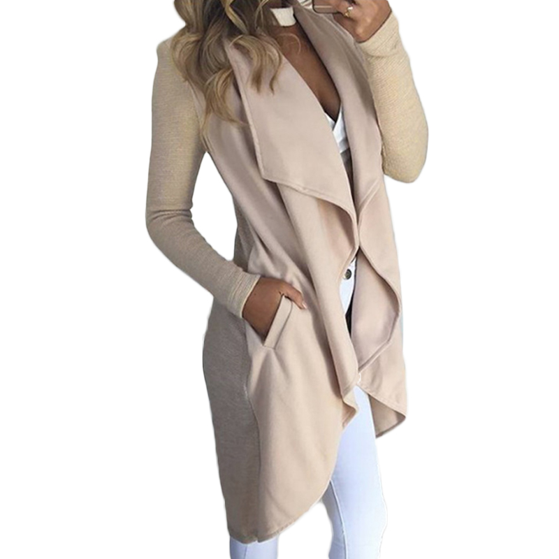 Women Basic Jackets Coats Long Cardigan Irregular Turn-Down Collar Jackets Autumn Fashion Lady Casual Overcoat WS1998V