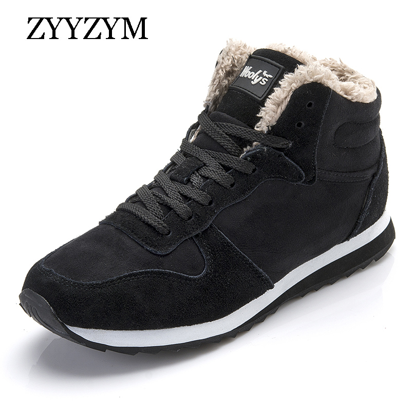 ZYYZYM Men Boots Winter Shoes For Men Lace-Up Style Winter Fashion Sneakers Casual Plush Keep Warm Youth Cotton Shoes Snow Boots