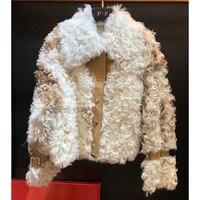 2018 Мода Настоящее барашек меховой Для женщин свободные короткие Дубленки натуральный мех пальто Леди Настоящее Меховая куртка Повседневно