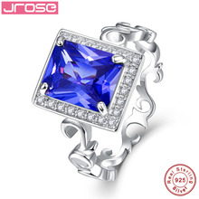 Jrose 8*10mm 5.3CT Lab created Solid 925 Sterling Silver Ring Elegant Gift Jewellery for Women Sz 6-9 Free with Box