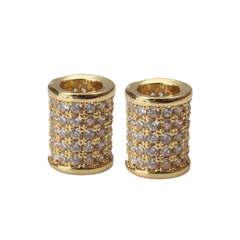 1pc 10*8mm Round Beads Cap Micro Pave Charm Copper Tube Bracelet Necklace Components For Diy Jewelry Accessories