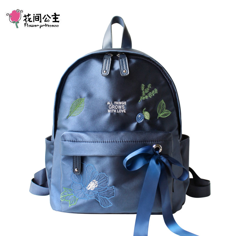Flower Princess Nylon Backpack Women Ribbons Embroidery Original Design Casual School Bags for Teenage Girls Bags
