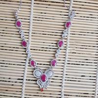2017 Ци Xuan_Fashion Jewelry_Red камень элегантные бабочка Вечеринка Necklace_S925 чистого серебра Necklace_Manufacturer непосредственно продаж