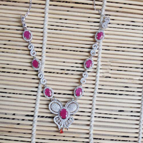 2017 Qi Xuan_Fashion Jewelry_Red Stone Elegant Butterfly Party Necklace_S925 Solid Silver Necklace_Manufacturer Directly Sales