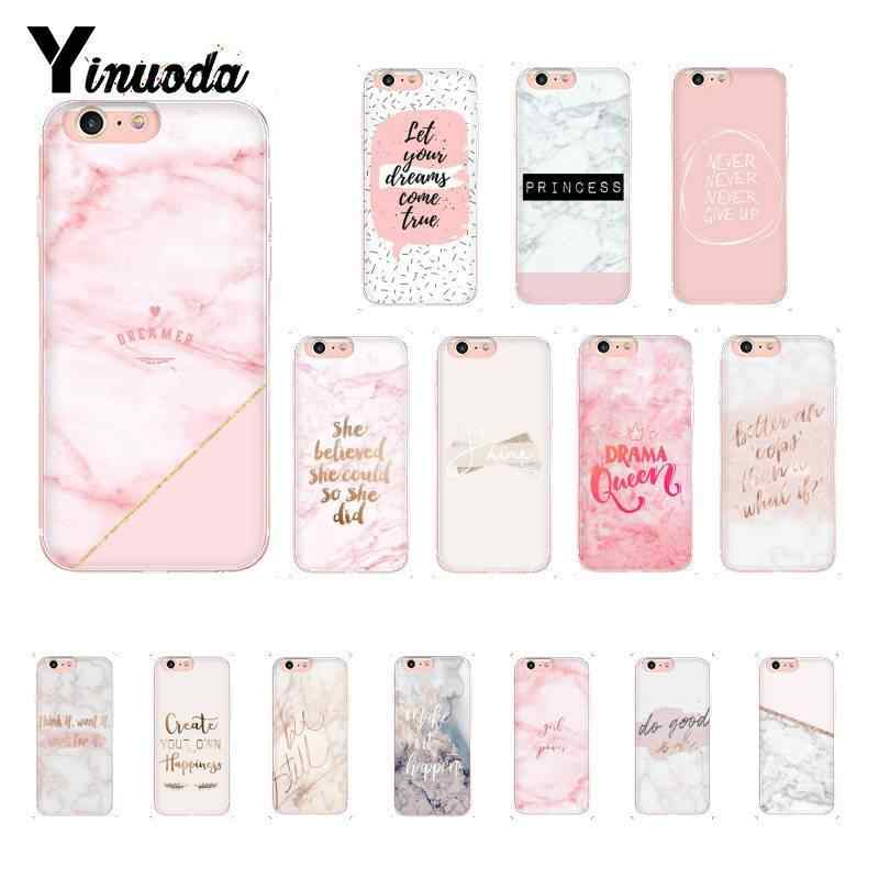 Yinuoda Pink Marble Pretty TPU Soft Silicone Phone Case  for iPhone 8 7 6 6S Plus X XS MAX 5 5S SE XR 10 Cases