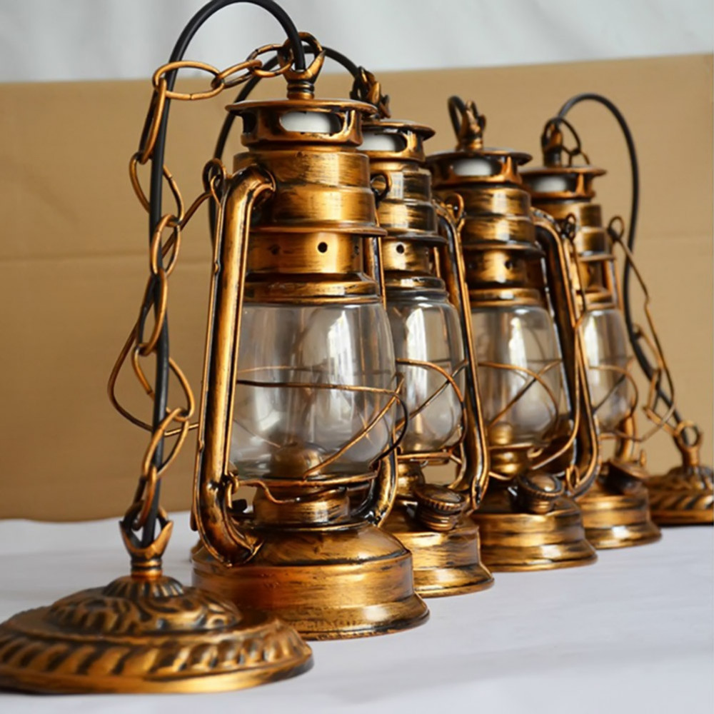 Diy Kerosene Lamp Us 33 2 250mm 160mm Vintage Nostalgic Lantern Kerosene Lamp Pendant Light Bar Entranceway Lamp E27 Lamp Base Antique Brown Color In Pendant Lights