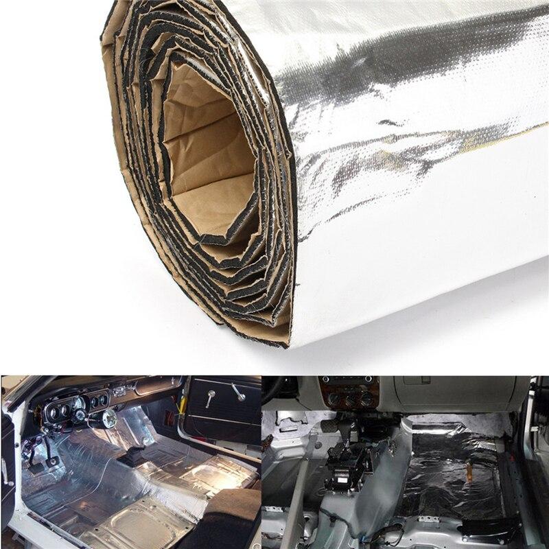 200x100cm 5mm Car Sound Insulation Cotton Firewall Deadener Heat Shield Insulation Foam Mat Deadening Mat Aluminum Foil Silver
