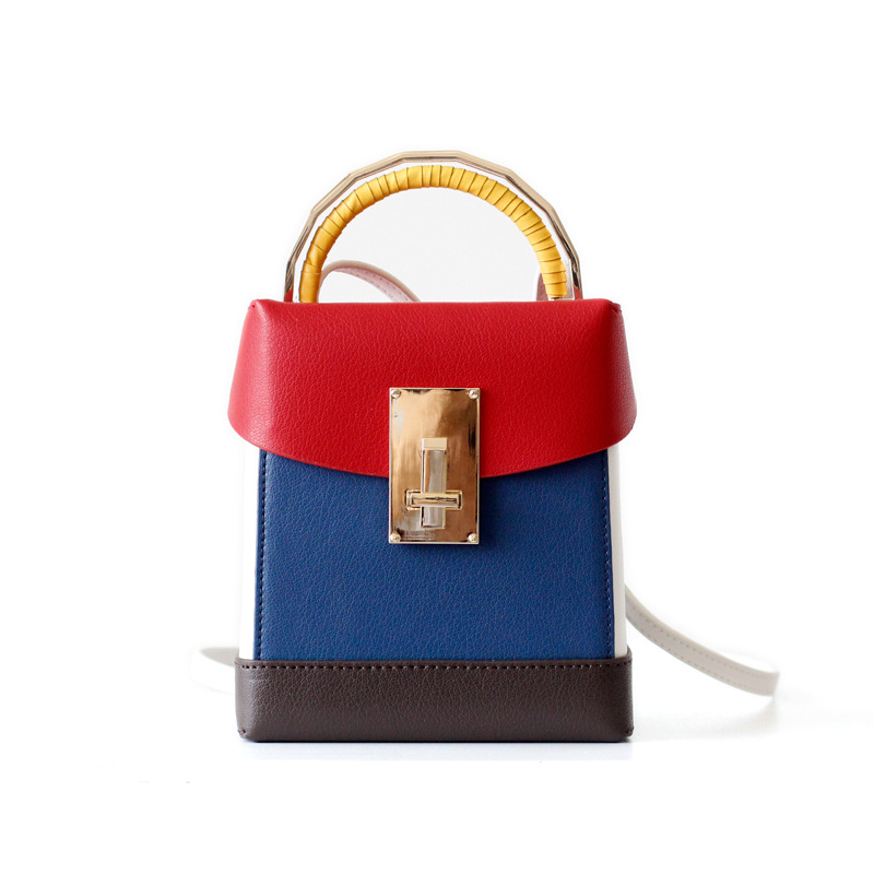 NEW 2018 Classic Vintage Small Box Bag Genuine Leather Women Handbag Panelled design Shoulder bag Lady small Tote Crossbody Bags