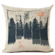 Forst Printing Cushion Cover Vintage Throw Pillowcase Square 45X45cm Cotton Linen Decorative Pillow cover