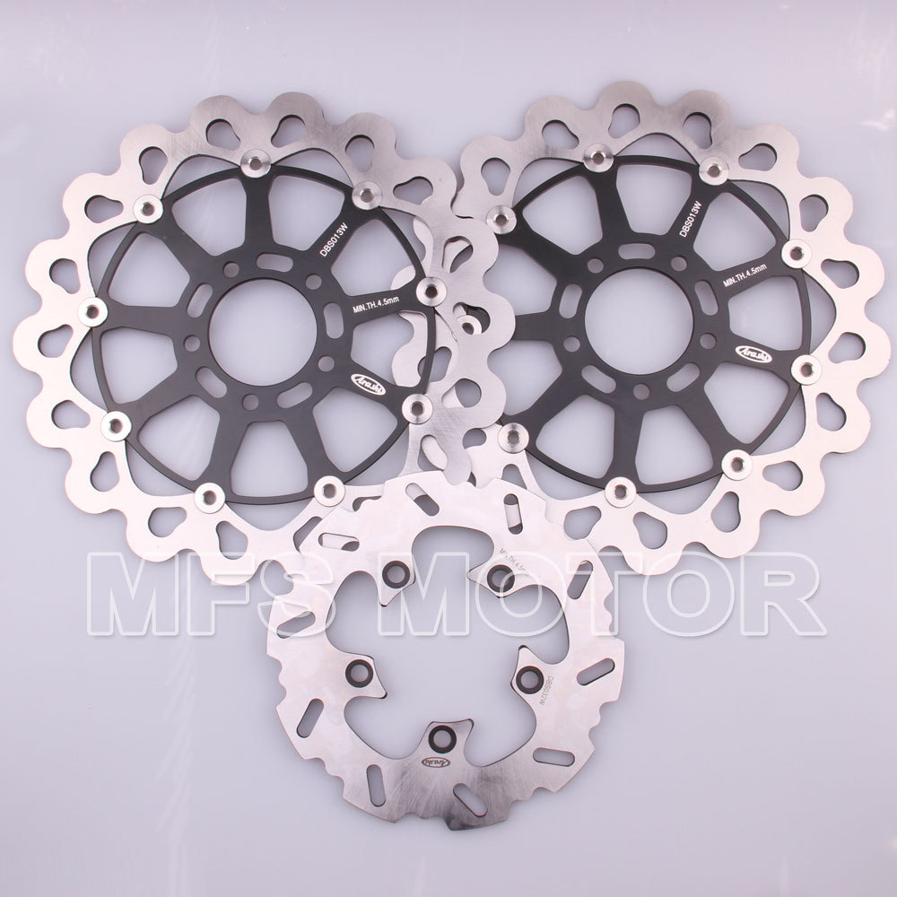 Front Rear Brake Discs Rotor Motor For Suzuki GSXR 600 750 1997 1998 1999 2000 2001 2002 2003 GSXR1000 2000 2001 2002 Black motorcycle parts 1 pair black stainless steel mechanical motorbike front rear disc brake rotor fit for suzuki gsx r 750 2000 2001 2002 2003 front l r
