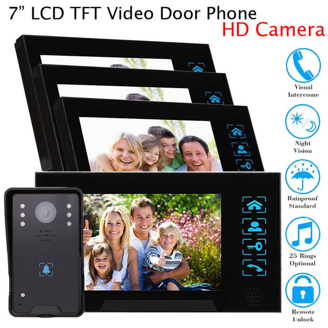 """Free shipping!7"""" Door Phone Security Doorbell Wired Intercom HD Camera+ 4Monitor For Home Kit"""