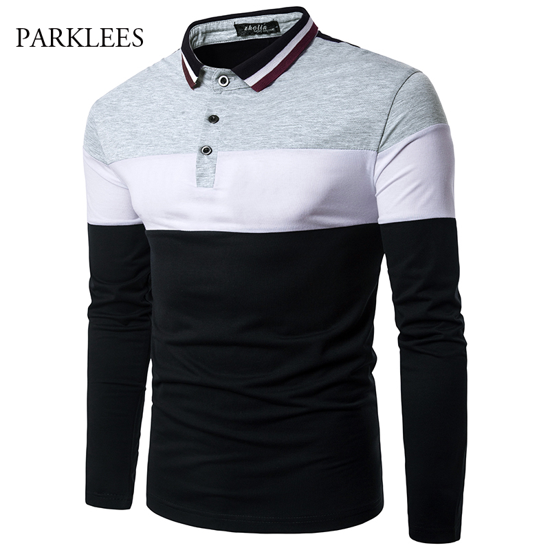 2017 Summer Brand   Polo   Shirt Men Long Sleeve Contrast Color Man   Polo   Shirts Patchwork Casual Slim Fit Mens Hip Hop   Polo   Homme