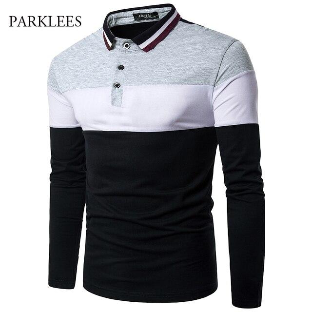54bcf9b215b 2017 été marque Polo chemise hommes à manches longues contraste couleur  Homme polos Patchwork décontracté Slim