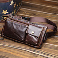 High Quality Oil Wax Cowhide Vintage Waist Bag Men Cell Phone Case Hip Belt Purse Clutch Bags Real Genuine Leather Fanny Pack