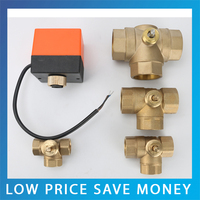 2PCS Fan coil Electric 3-way Ball Valve 220V 1.6Mpa DN15 Brass Ball Valve Cold&Hot Water