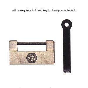 Image 5 - Aibecy اليدوية تنقش نمط لينة دفتر يوميات من الجلد مع قفل ومفتاح مذكرات المفكرة كرافت ورقة للأعمال المسافر