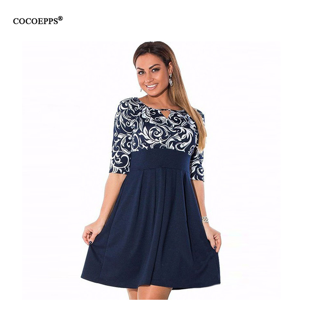 Large Size 6XL Summer Dress 2017 Plus Size Midi Dress Casual Patchwork Loose Dresses Plus Size 5XL Women Clothing Big Sizes 4XL