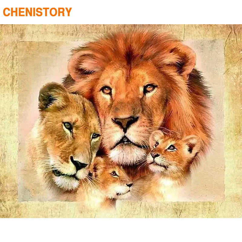 CHENISTORY Lions Family 60x75cm Frame DIY Painting By Numbers Modern Wall Art Picture Coloring By Number Animals For Home Decor