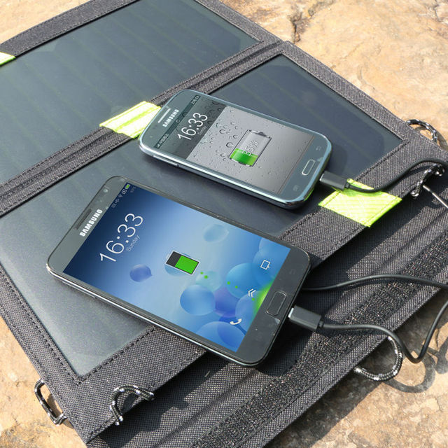 14W 5V Solar Panel Charger Dual Output Solar Power Bank Camping Outdoor Cellphone Charger for iPhone Samusng iPad and so on.