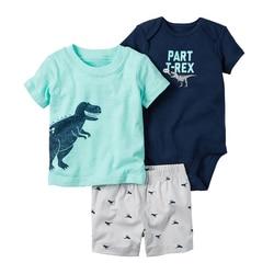 الصيف بيبي بوي فتاة الملابس مجموعة ملابس لحديثي الولادة س الرقبة الكرتون ديناصور تي شيرت السراويل رومبير الرضع وتتسابق المولود الجديد زي