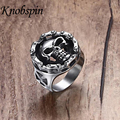 22mm Cool Punk Mens Boys Silver Tone Motorcycle Engine Skull Ring 316L Stainless Steel Ring Wholesale US Size 8-12