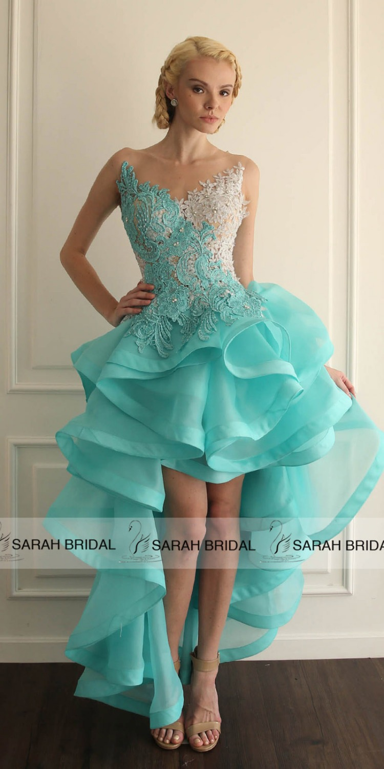 Sarahbridal Dreamy Forest Ace Wedding Dresses 2017 Y Backless Ruched High Low Grace Loves Lace Bridal Gown Vestido Noiva In From