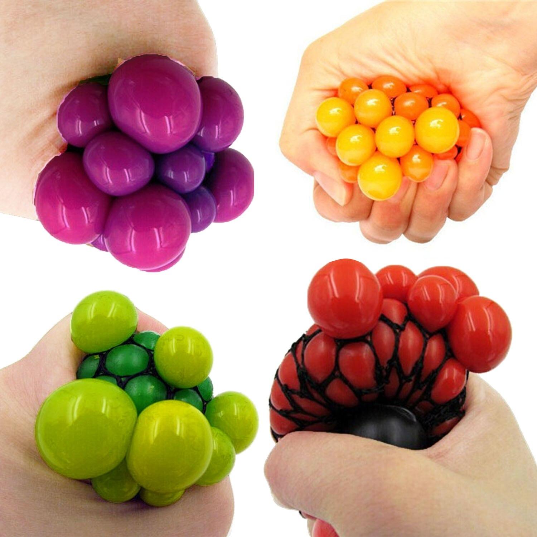 Satkago 4 PCS Stress Relief Squeeze Grape Mesh Ball Toy Exprima la bola Aperte bola Sfera di compressione Squeeze-Ball