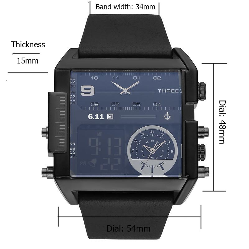 Topdudes.com - Top Men's Fashion Waterproof Leather Led Digital Wristwatches Reloj Hombre