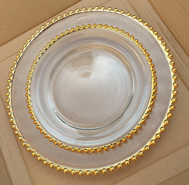 glass fancy design pearl inlay charger plate for wedding event decoration gold silver dinner plates 100  sc 1 st  AliExpress.com & glass fancy design pearl inlay charger plate for wedding event ...