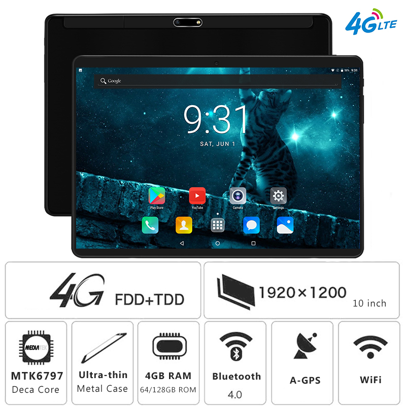 Global 10 inch 4G LTE Tablet PC Deca Core 4GB RAM 128GB ROM 1920 1200 IPS