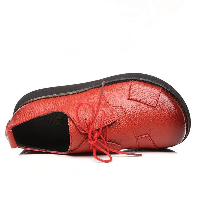 Coins Nouveau De Chaussures Respirant Pour Rétro En Tendance Cuir Cm Talons forme Hauts Printemps Femmes Ceyaneao 6 Plate Noir Véritable Confortable rouge qw840I5