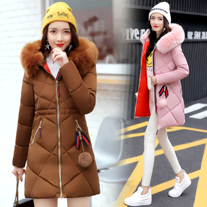 2017 Winter Women ParkasThick Warm Hooded Female Cotton-padded Coats Jackets Long Feathers Collar Zipper New Hot LA1013B#2802 2017 winter women parkas slim feathers collar female cotton padded coats jackets long thick warm hooded new hot la1013b 16608