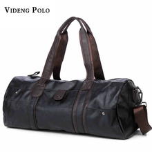 VIDENG POLO Men Vintage Retro Leather Travel Bags Hand Luggage Overnight Bag Fashionable Designers Large Duffle Bags Weekend Bag