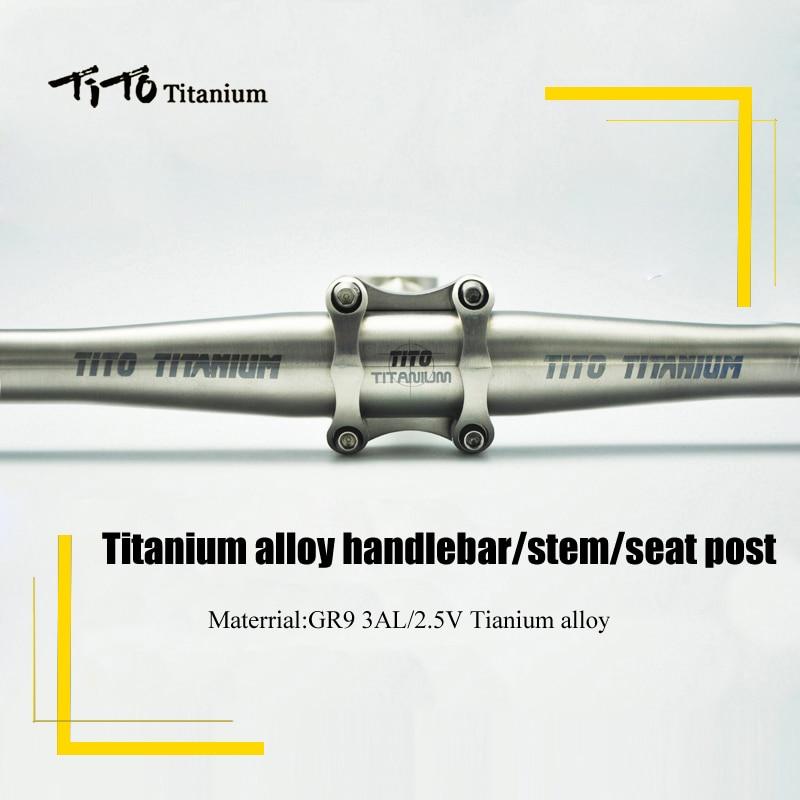 TiTo MTB / Road bicycle parts titanium seatpost +  titanium handlebar + titanium stem bicycle part one set