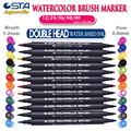 STA 3110 Watercolor Brush Pens Set 12/24/36/48 Colors Soft Markers for Adult and Kids Coloring Books,Drawing,Calligraphy,Writing