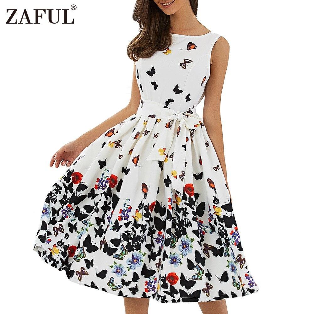 ZAFUL Floral Print Summer Dress Vintage Pin up Women 2017 ...
