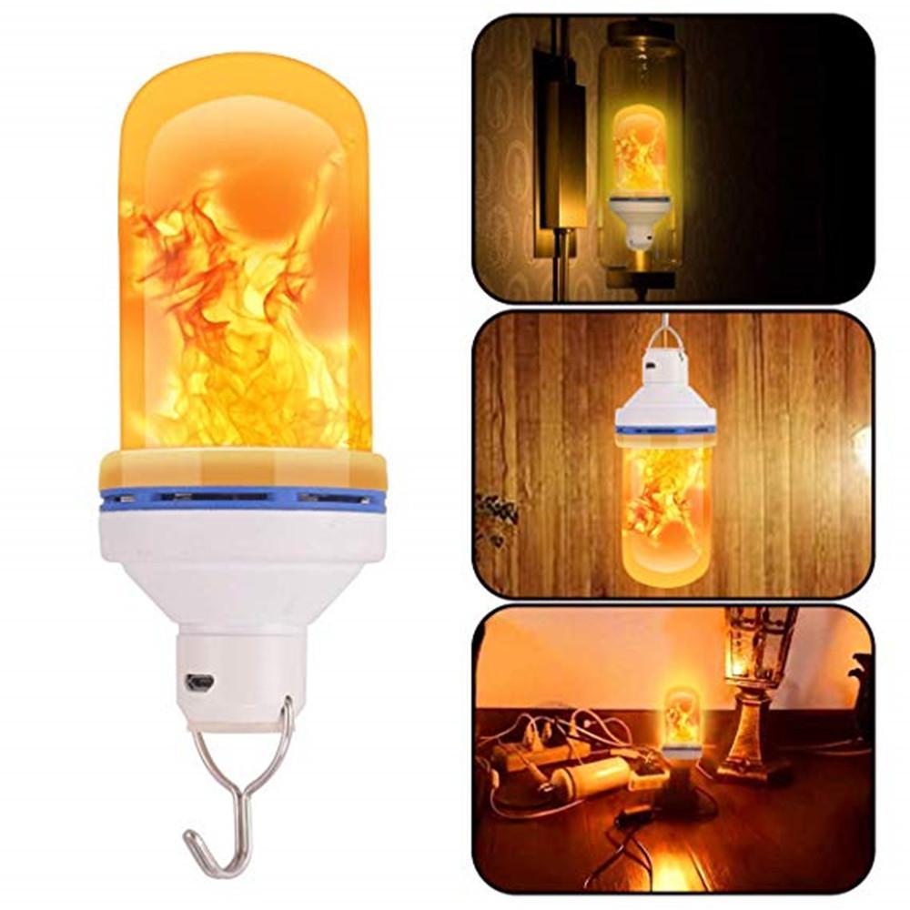 Hobbylane USB Rechargeable Gravity Sensor Flame Lights 108 LEDs Effect Fire Light Bulb 5W Flickering Emulation Decor Lamp