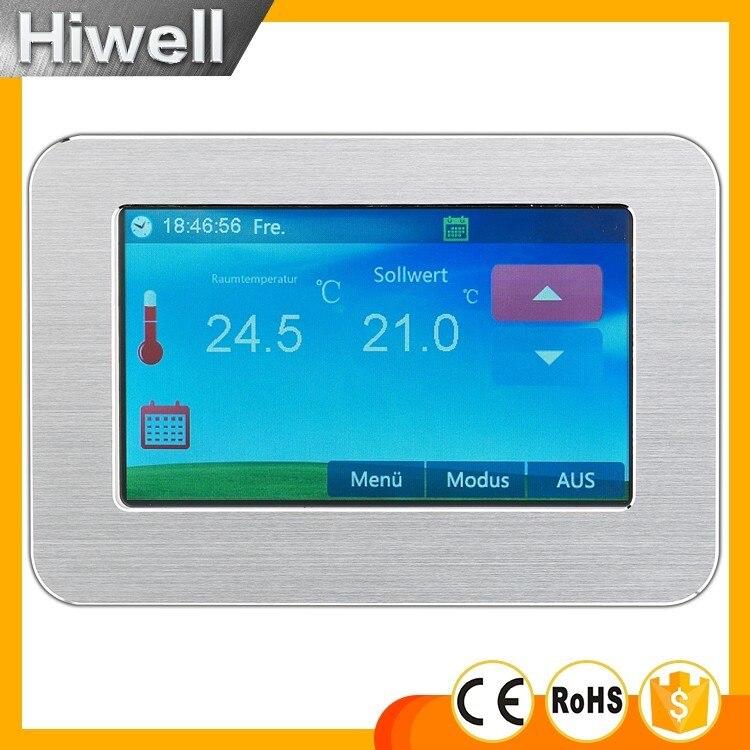 Grand affichage couleur écran tactile thermostat de chauffage hebdomadaire programmable numérique chauffage par le sol thermostat 16A HT-CS01 interrupteur