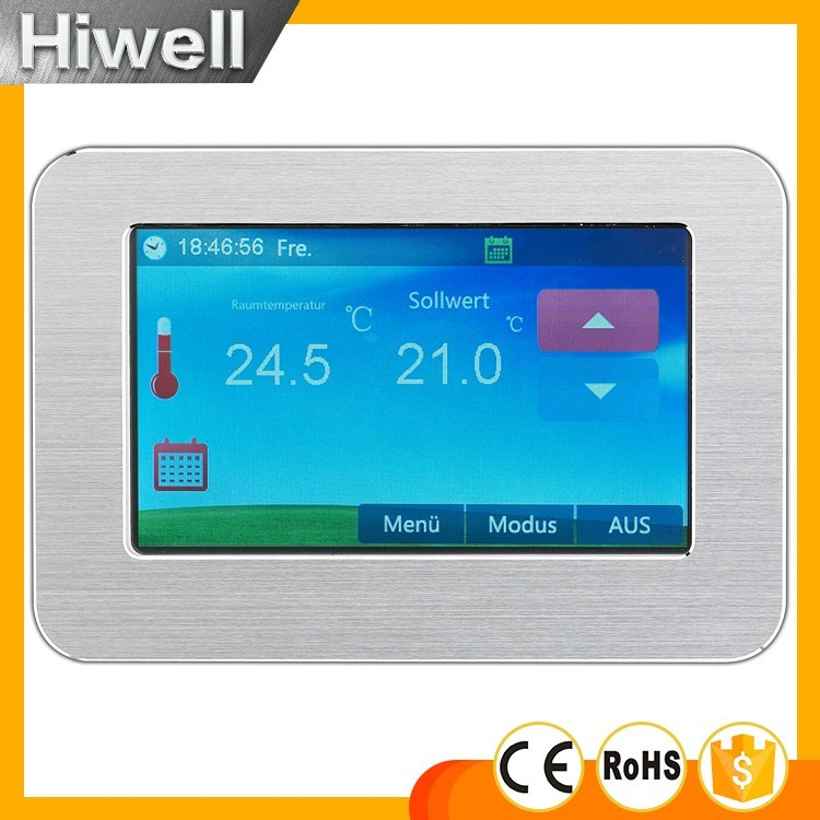 Large display color touch screen heating thermostat weekly programmable digital underfloor heating thermostat 16A HT-CS01 switch touch screen thermostat electric thermostat room thermostat underfloor heating programmable thermostat 16a v8 716 switch