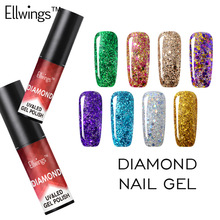 Ellwings Diamond Glitter UV Gel Polish Soak Off Nail Gel Varnish Manicure Gel Nail Sticker Shine with Top Base Gel Nail Polish