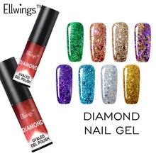 Ellwings Diamond Glitter UV Gel Polish Soak Off Nail Gel Varnish Manicure Gel Nail Sticker Shine with Top Base Gel Nail Polish