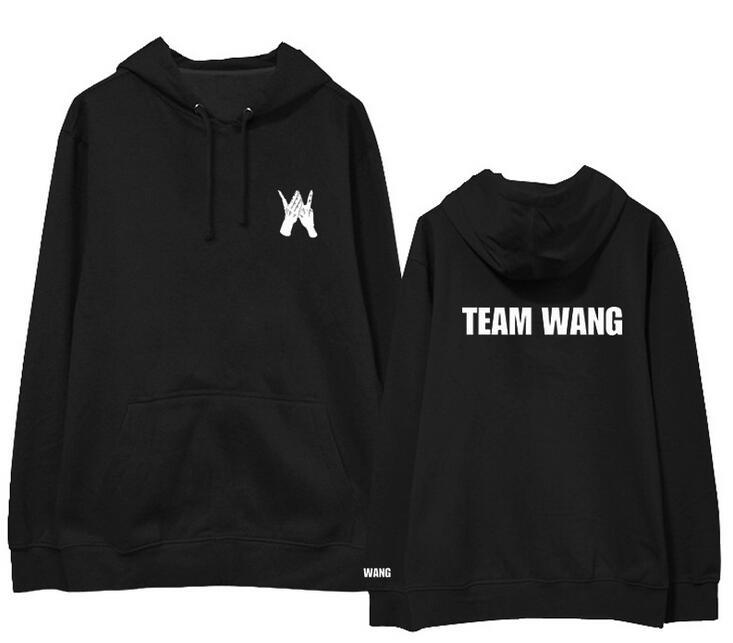 Kpop jackson got7 equipe wang mesmo impressão velo/hoodies do pulôver fino para i got7 outono inverno camisola unisex