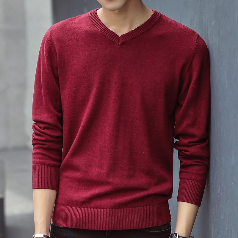 Camisola masculina 2020 outono casual pullovers homens com decote em v sólido algodão de malha roupas da marca fino ajuste camisolas masculinas pull homme