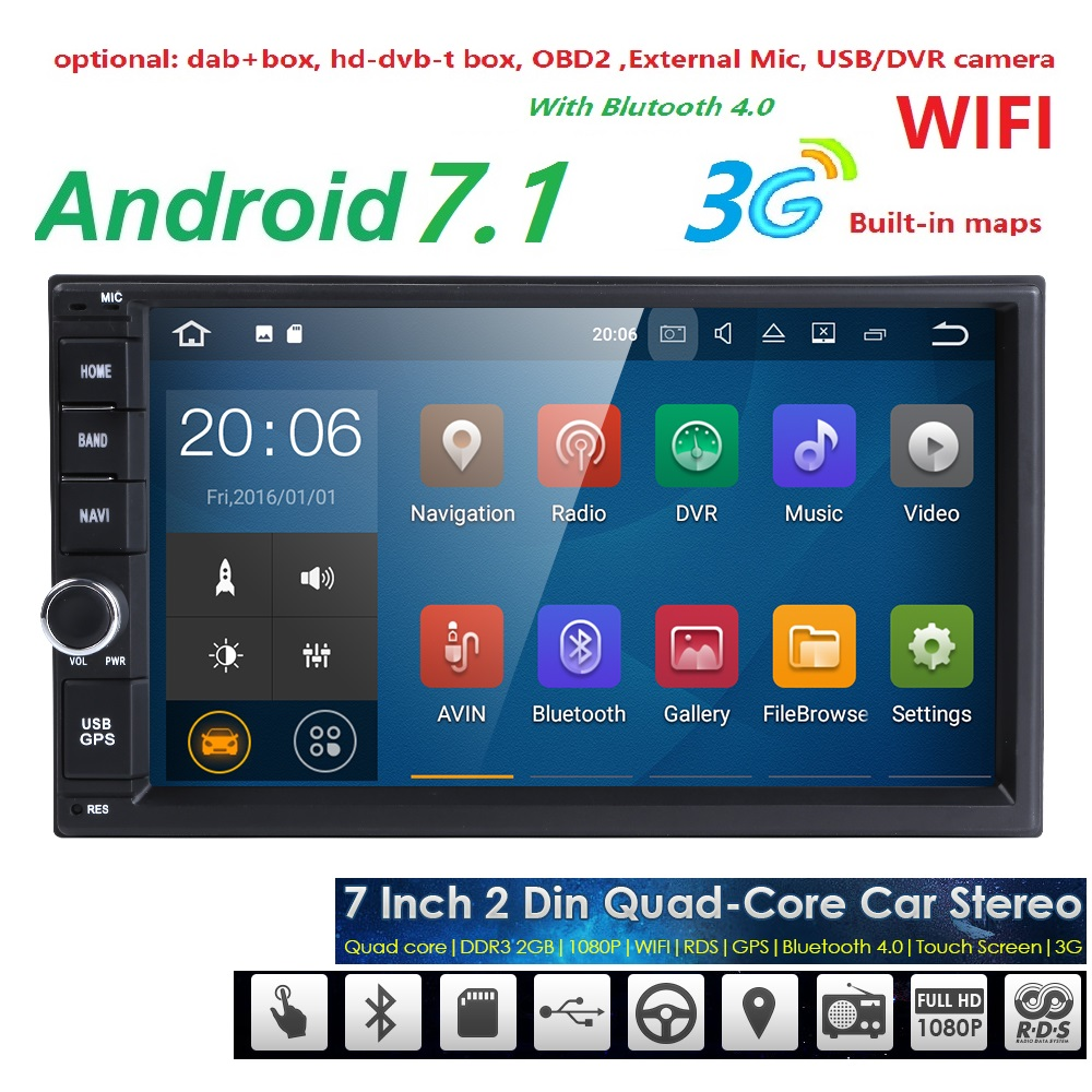Universal 2 din Android 7 1 Quad Core Car DVD player GPS Wifi BT Radio