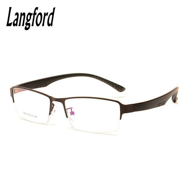 Langford marca óculos meia armação homens vidros ópticos armações de óculos homens de Negócios simples half-aro óculos de Miopia progressive2211
