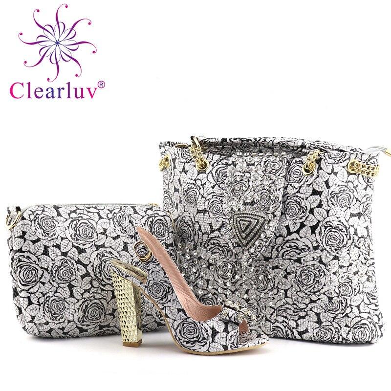 Calidad De Zapatos Bolsas Flores Plata Negro Y Mujer Italiano Con Clearluv Alta Conjunto 2 A oro Bolsa Africana Juego plata X6wCdxd