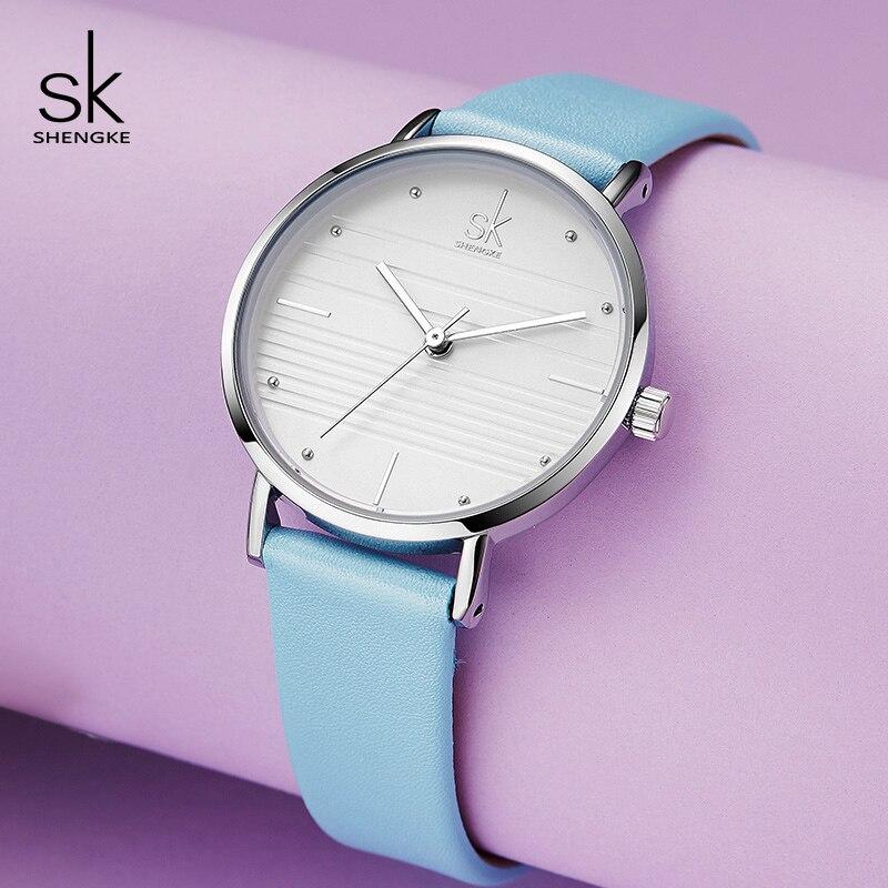 Shengke Watches Women Brand Fashion Ladies Quartz Watch Bayan Kol Saati 2019 SK Women Blue Leather Wrist Watch Reloj Mujer