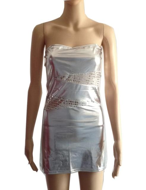 c85381aa7cd Plus Size Women Sexy Shiny Faux Leather Bodycon Boob Tube Dress Strapless  Mesh Mini Dresses One