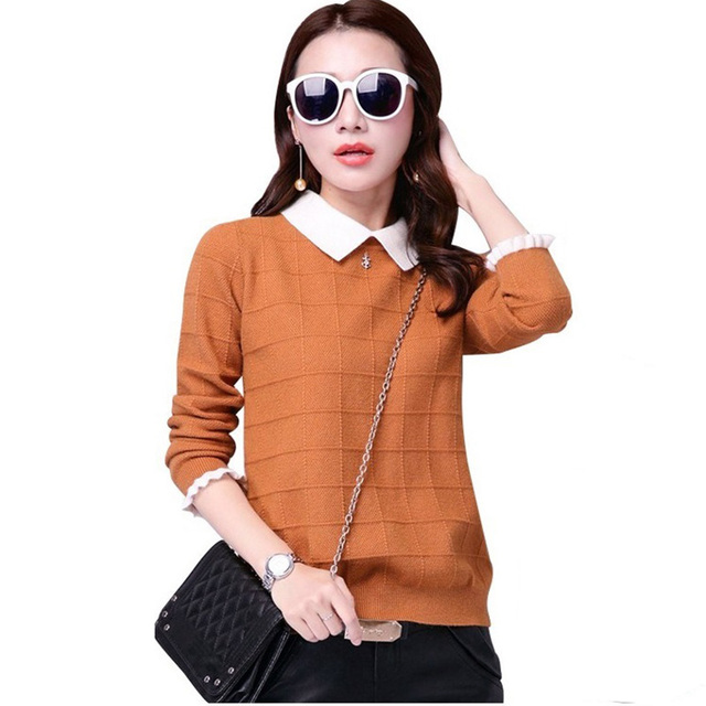 סתיו חורף נשים סוודר חדש בובת צווארון ארוך שרוולים סריגי סוודר סוודר גדול גודל קצר לסרוג Jumper נקבה חולצות y63