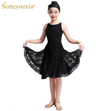 New Kids Latin Skirt Dresses Performing Girls Cha Competition Children Lace Dancewear